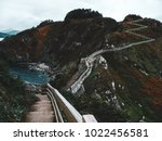 walk of stairs on a cliff over... | Shutterstock . vector #1022456581