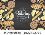 chalk drawing bakery background.... | Shutterstock .eps vector #1022462719