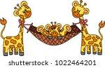 couple giraffes with son... | Shutterstock .eps vector #1022464201
