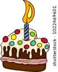 lovely happy birthday cake  | Shutterstock .eps vector #1022469601