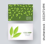 business card design with green ... | Shutterstock .eps vector #1022471494