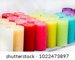 colored candles. red  yellow... | Shutterstock . vector #1022473897
