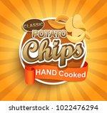 potato crispy chips label with... | Shutterstock . vector #1022476294