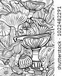 mushrooms coloring antistress... | Shutterstock .eps vector #1022482291