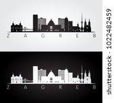 zagreb skyline and landmarks... | Shutterstock .eps vector #1022482459