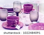 violet dishes. purple cups ... | Shutterstock . vector #1022484091