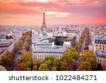 romantic view on paris from arc ... | Shutterstock . vector #1022484271