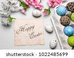 happy easter card    Shutterstock . vector #1022485699