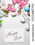 happy easter card    Shutterstock . vector #1022485705