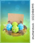 painted easter eggs with...   Shutterstock . vector #1022486995