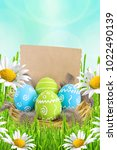 easter card. painted easter...   Shutterstock . vector #1022490139