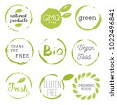 healthy food icons  labels.... | Shutterstock .eps vector #1022496841