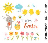 cute easter bunny  chicks ... | Shutterstock .eps vector #1022498485