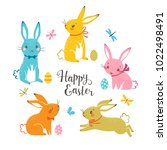 set of cute colorful easter... | Shutterstock .eps vector #1022498491