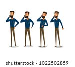 man is talking on the phone... | Shutterstock .eps vector #1022502859
