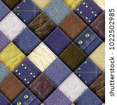 leather and jeans patchwork... | Shutterstock . vector #1022502985