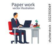 paperwork concept. businessman... | Shutterstock .eps vector #1022503069