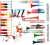 jazz music colorful background. ... | Shutterstock .eps vector #1022503609