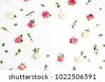 floral frame made of red and... | Shutterstock . vector #1022506591