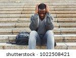 desperate african american...   Shutterstock . vector #1022508421