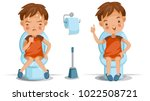 boy is sitting on the toilet.... | Shutterstock .eps vector #1022508721