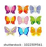 set of 9 cartoon butterfly.... | Shutterstock .eps vector #1022509561