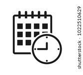 black calendar and clock icon ... | Shutterstock .eps vector #1022510629