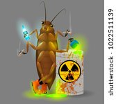 a giant cockroach drinks a... | Shutterstock .eps vector #1022511139