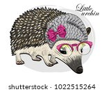 vector urchin with knitted hat... | Shutterstock .eps vector #1022515264