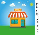 street cafe. coffeeshop. city...   Shutterstock .eps vector #1022517379