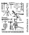 types of corkscrews | Shutterstock . vector #1022517901