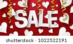 sale banner with paper heart... | Shutterstock .eps vector #1022522191