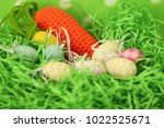 colorful easter eggs   happy... | Shutterstock . vector #1022525671