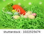 colorful easter eggs   happy... | Shutterstock . vector #1022525674