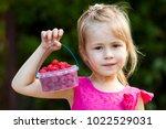 portrait of a little girl child ... | Shutterstock . vector #1022529031