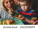 grandparents with grandson... | Shutterstock . vector #1022530099