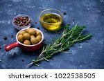cooking  ingedients   olives ... | Shutterstock . vector #1022538505