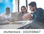 teamwork concept.young creative ... | Shutterstock . vector #1022538667