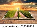 Open Bible Cross In Sky At...