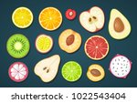 set slice fruits. vector color... | Shutterstock .eps vector #1022543404