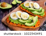 sweet potato toasts with... | Shutterstock . vector #1022543491