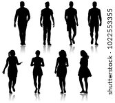 black silhouette group of... | Shutterstock . vector #1022553355