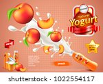 peach yogurt ads. bottle... | Shutterstock .eps vector #1022554117