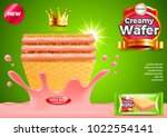 wafer ads. strawberry cream... | Shutterstock .eps vector #1022554141