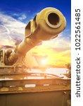 close up of the heavy tank gun... | Shutterstock . vector #1022561485
