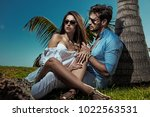 elegant man man posing with his ... | Shutterstock . vector #1022563531