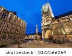 tongeren basilica at night.... | Shutterstock . vector #1022566264