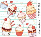 a set of vector doodle cute... | Shutterstock .eps vector #1022571301