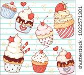 a set of vector doodle cute... | Shutterstock .eps vector #1022571301