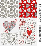 hearts hand drawn set | Shutterstock .eps vector #1022575471